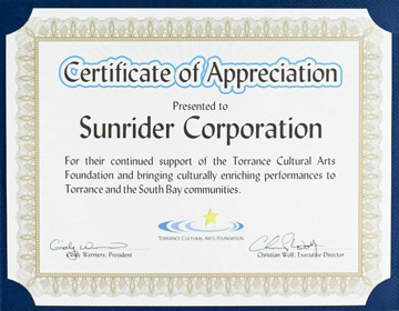 Awards honors 2012 certificate of appreciation from the torrance cultural arts foundation yadclub Image collections
